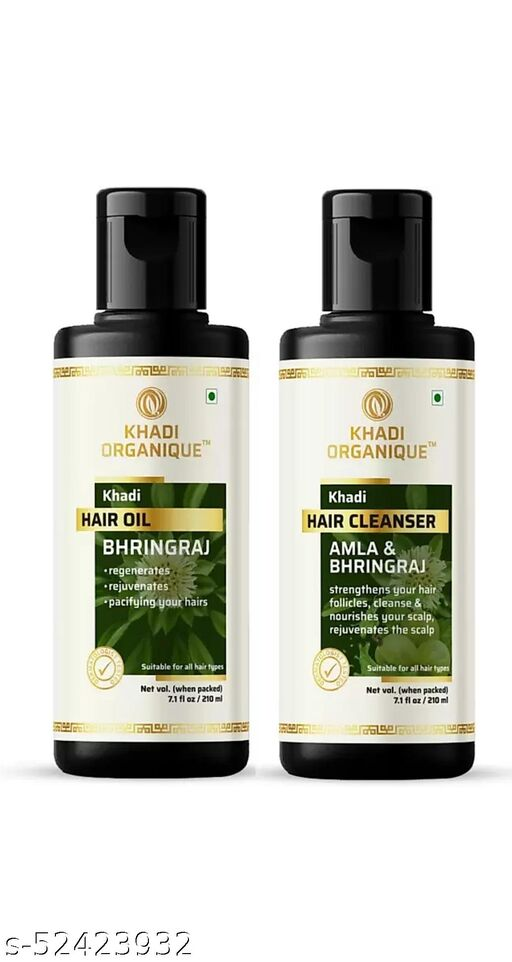 khadi ORGANIQUE Herbal Amla Bhringraj Hair Cleanser & Herbal Bhringraj hair oil For ultimate remedy for hair growth and helps to control hair fall.  (2 Items in the set)