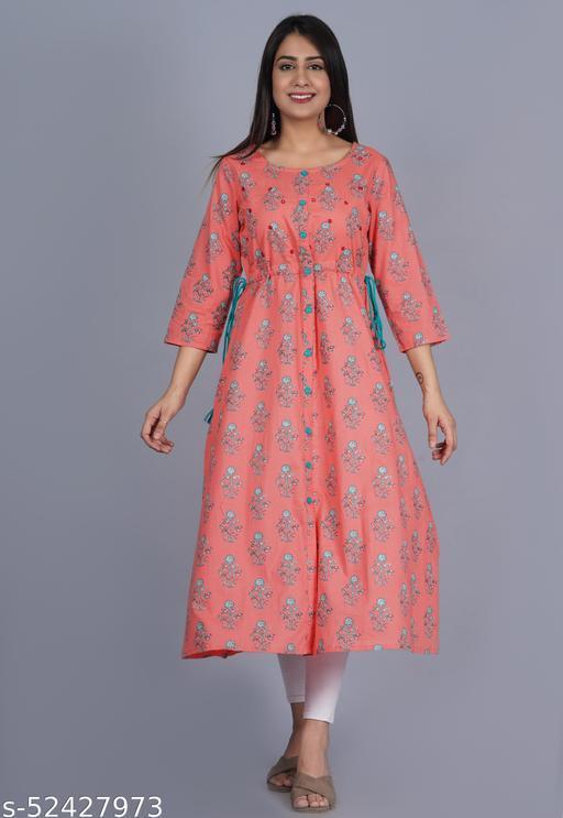 Womens cotton manual embroidery long kurta