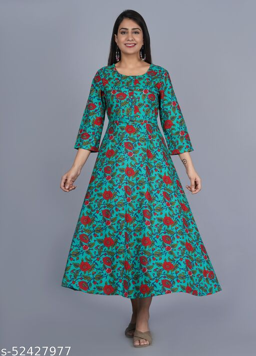 Womens cotton embroidery long kurta