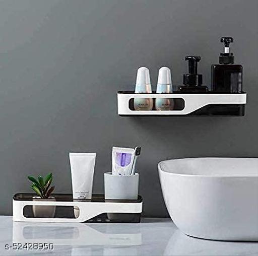 OZONE FASHION Bathroom Shelf Rack Storage Holder Shower Rod Mounted Shampoo Gel Draining Organizer Basket Bathroom Accessories Suction Cup Bathroom Shelf Wall Rack Plastic Shower Caddy Rack(Set of 1)