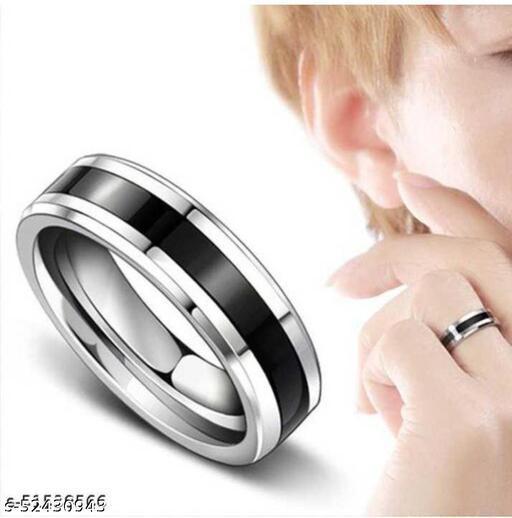 Valentine Gift Couple Stainless Steel Black Silver Titanium Band/Ring for Men/Women/Boy/Girl Stainless Steel Ring
