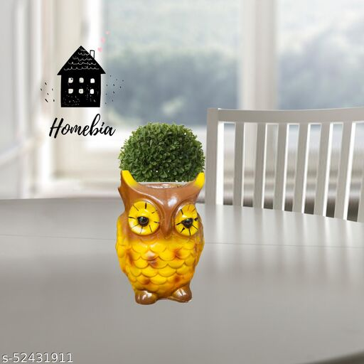 Homebia Home Decorative Cute Shaped Owl Shaped Polyresin Planter Pot/Vase For home decor