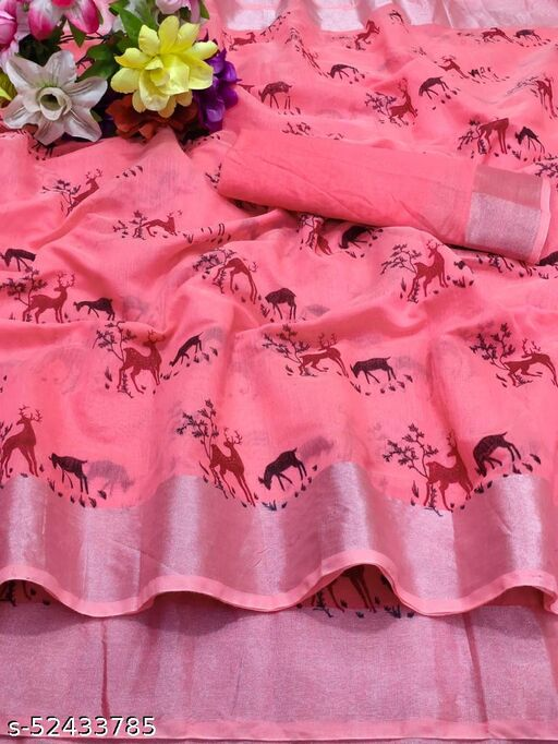 Chanderi Silver Border Quality Saree Multi Print With Running Blouse