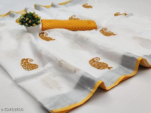 linen saree with mirrar keri work . N Allso Come With Banarasi blouse