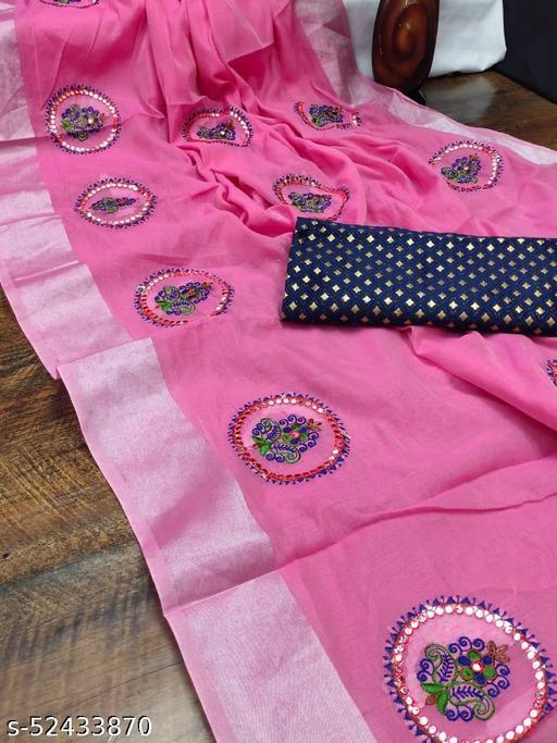semi linen saree with full multi. Work Pallu N full all over saree