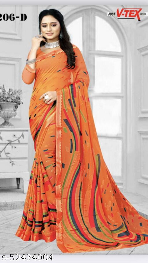 Just V Tex Sarees presents beautiful Brasso printed Saree with unstithced blouse piece