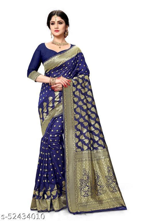Laddeez Woven Banarasi Art Silk Saree For Women-Blue