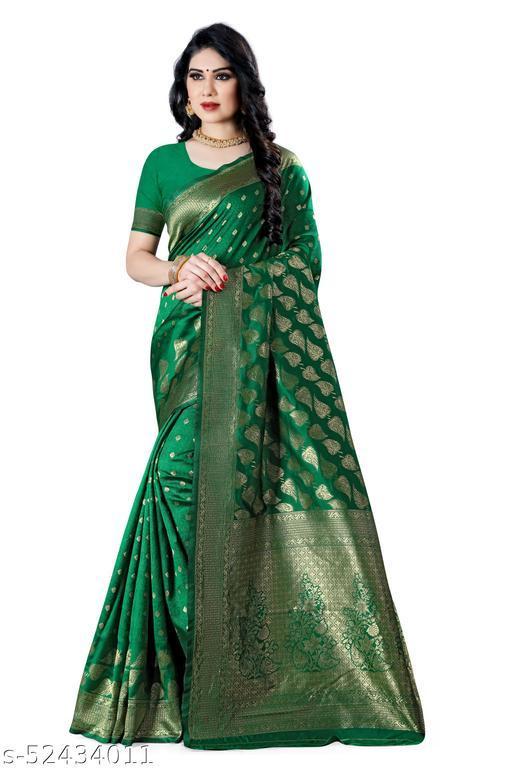 Laddeez Woven Banarasi Art Silk Saree For Women-Green