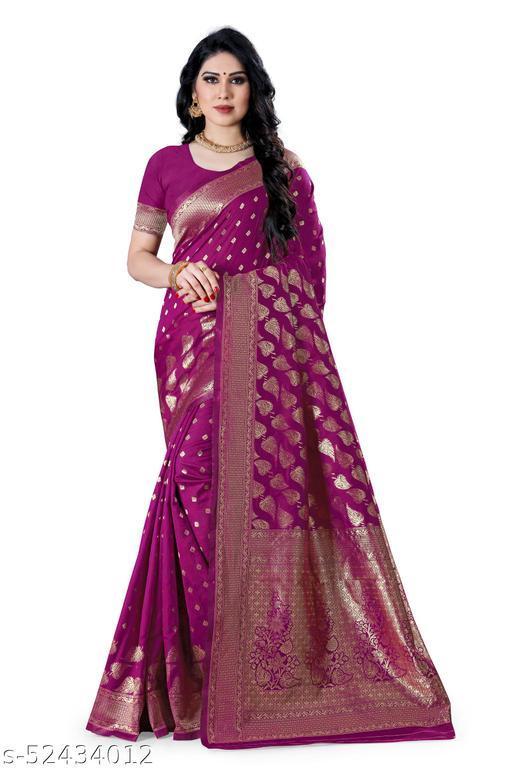 Laddeez Woven Banarasi Art Silk Saree For Women-Purple