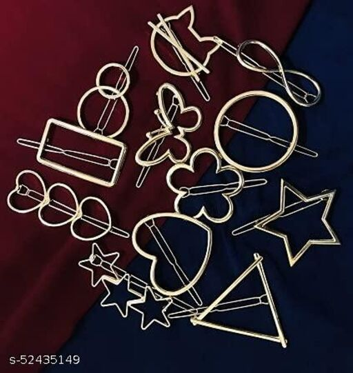 Unified collection  10 Pcs Fancy stylish golden shape heart / star / circle / moon / knot  etc  Hair Accessories combo Fancy knotted hair bands headbands / hair Tie style clips for girls / women / kids / baby hair clips / unisex