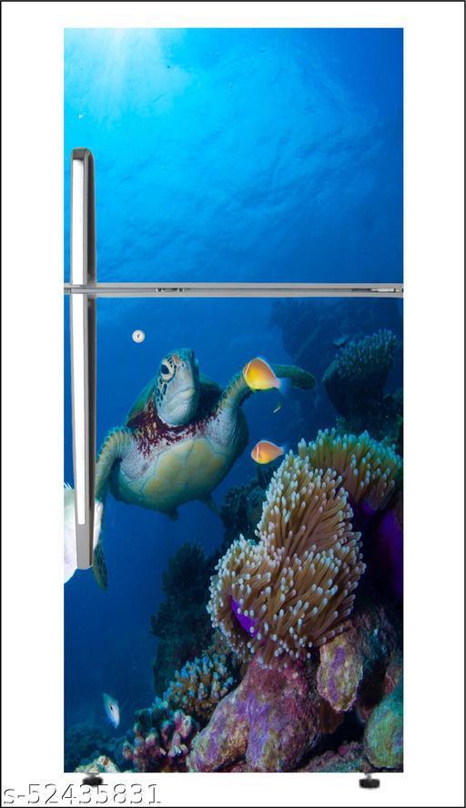 decorative  undersea basinvinyl Fridge cover wallpaper poster adhesive vinyl sticker fridge wrap decorative sticker (pvc vinyl covering area 60cm X 160cm )