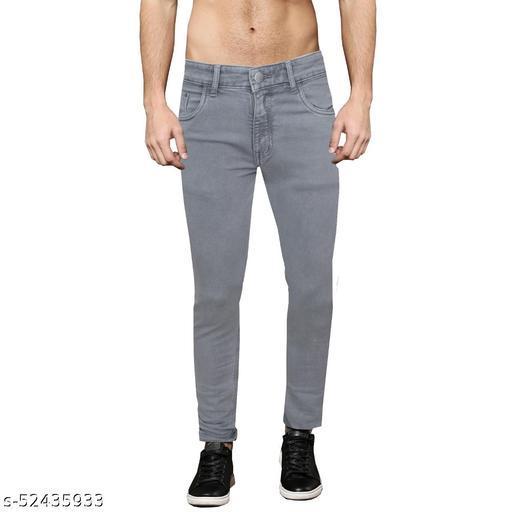 Pop Culture Men's Solid Slim Fit Cotton Light Grey Jeans