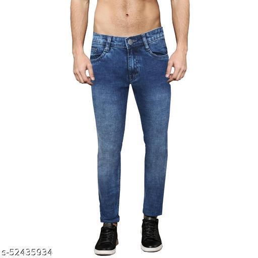 Pop Culture Men's Dyed Slim Fit Cotton Dark Blue Jeans