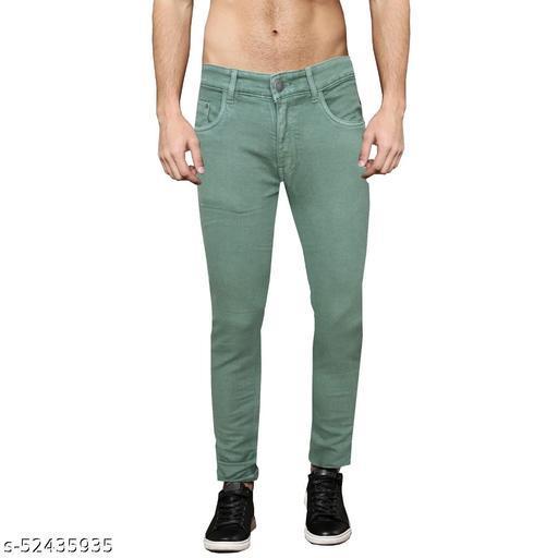 Pop Culture Men's Solid Slim Fit Cotton Olive Jeans