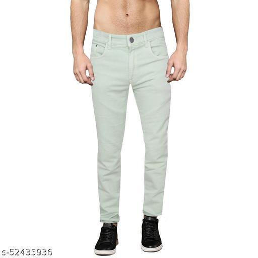 Pop Culture Men's Solid Slim Fit Cotton Green Jeans