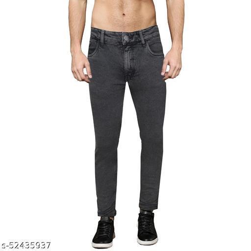 Pop Culture Men's Solid Slim Fit Cotton Grey Jeans