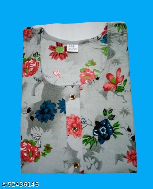 WhiteBear round neck Grey floral kurti for ladies