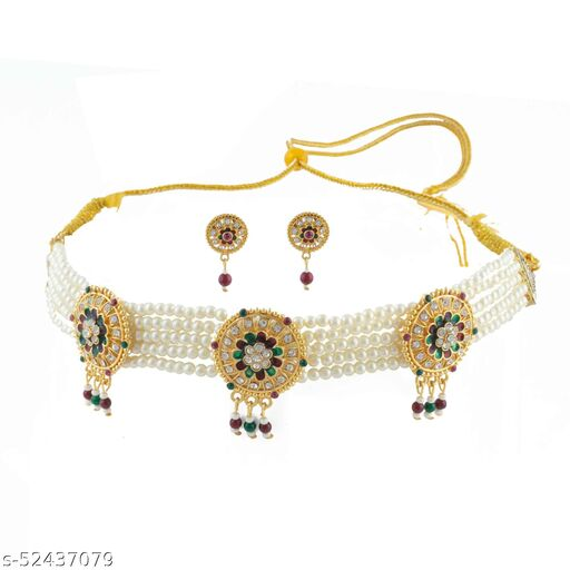American Diamond Studded Pearl Choker set with Earrings