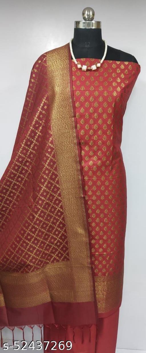 (2Maroon) Fabulous Banarsi Pure Silk Suit And Dress Material