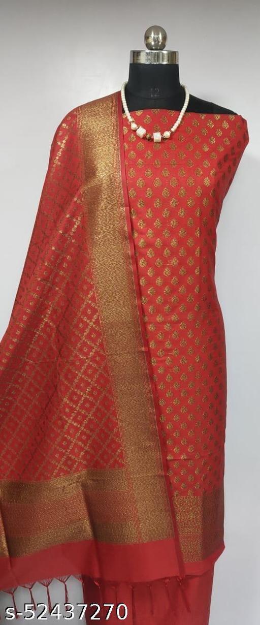 (2Red) Fabulous Banarsi Pure Silk Suit And Dress Material
