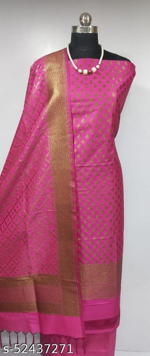 (2Pink) Fabulous Banarsi Pure Silk Suit And Dress Material