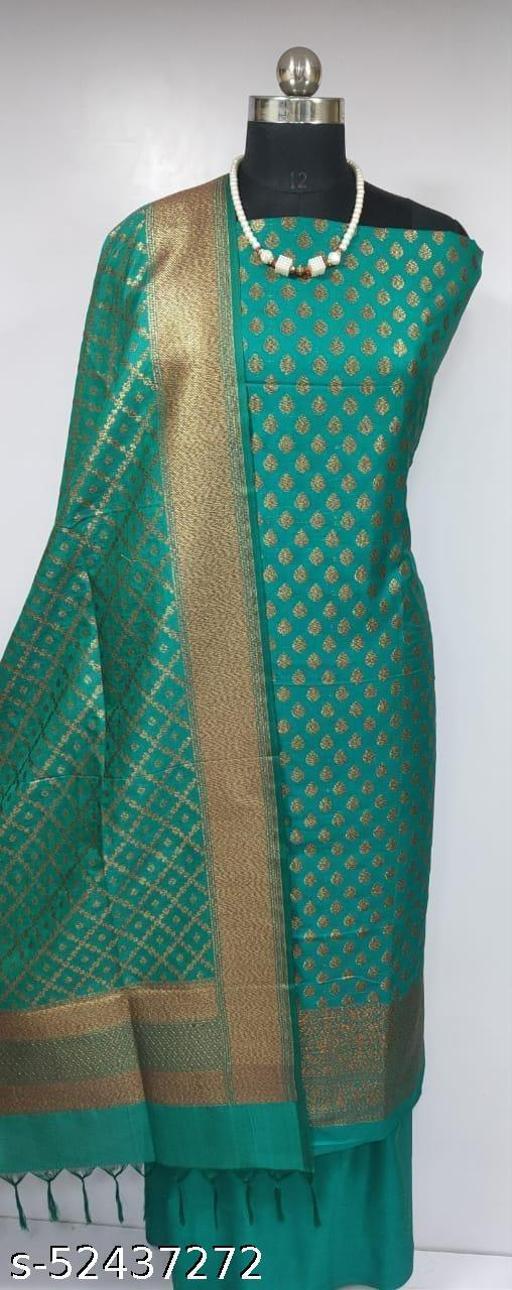 (2Green) Fabulous Banarsi Pure Silk Suit And Dress Material