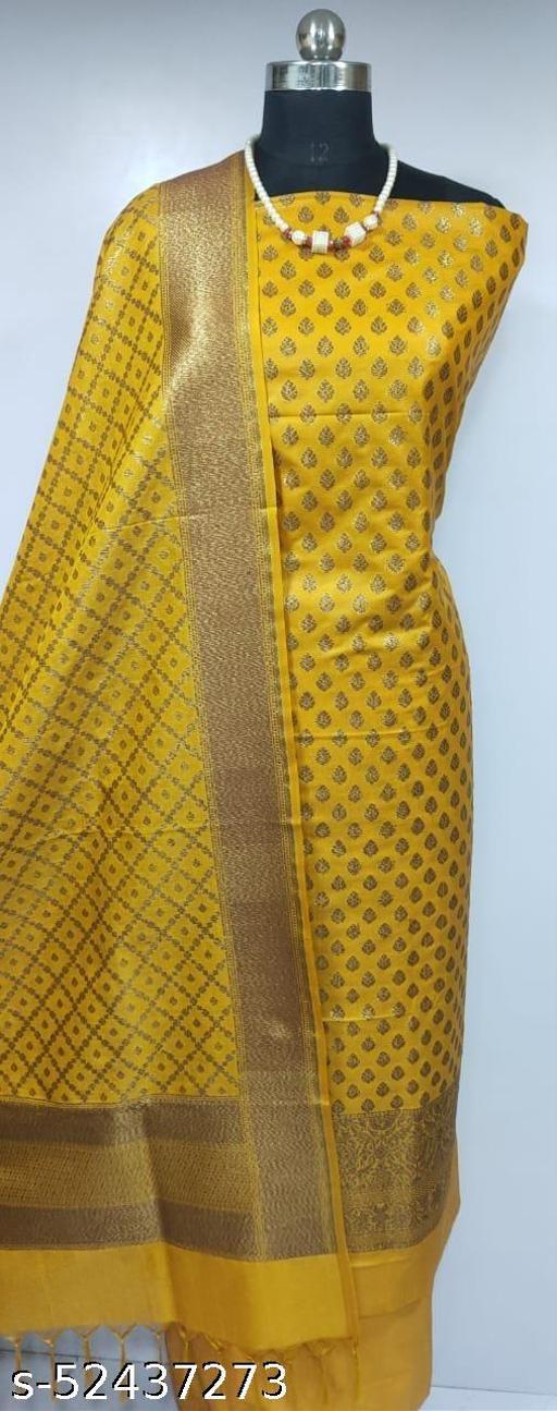 (2Mustard) Fabulous Banarsi Pure Silk Suit And Dress Material