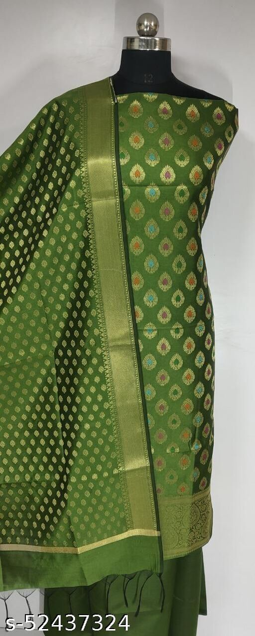 (4Mint Green) Fabulous Banarsi Multi Mina Silk Suit And Dress Material