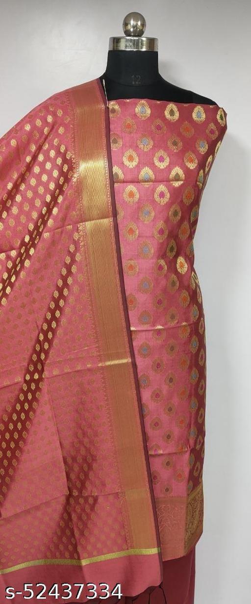 (4Peach) Fabulous Banarsi Multi Mina Silk Suit And Dress Material