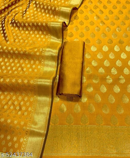 (12Mustard) Weddings Special Banarsi Silk Suit And Dress Material
