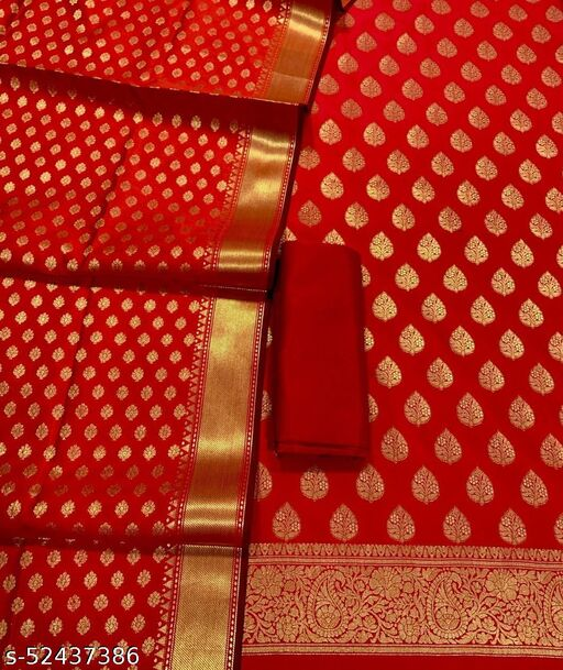 (12Red) Weddings Special Banarsi Silk Suit And Dress Material