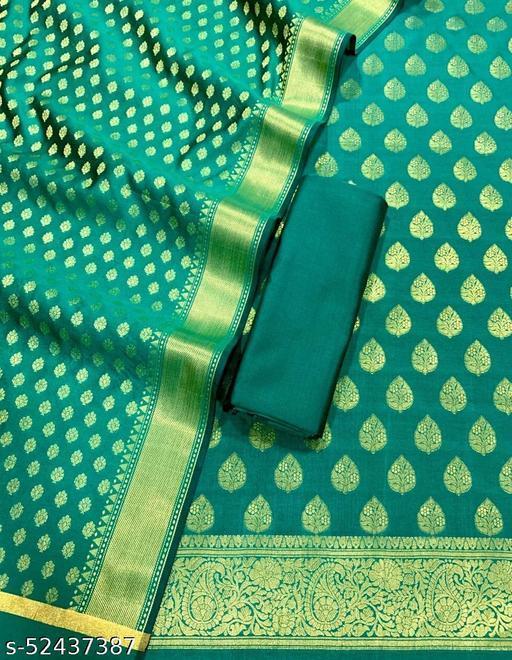 (12Teal) Weddings Special Banarsi Silk Suit And Dress Material