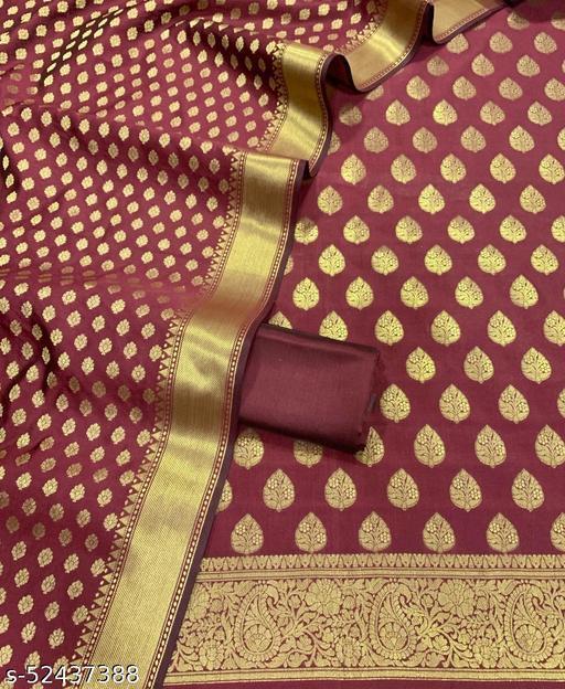 (12Maroon) Weddings Special Banarsi Silk Suit And Dress Material
