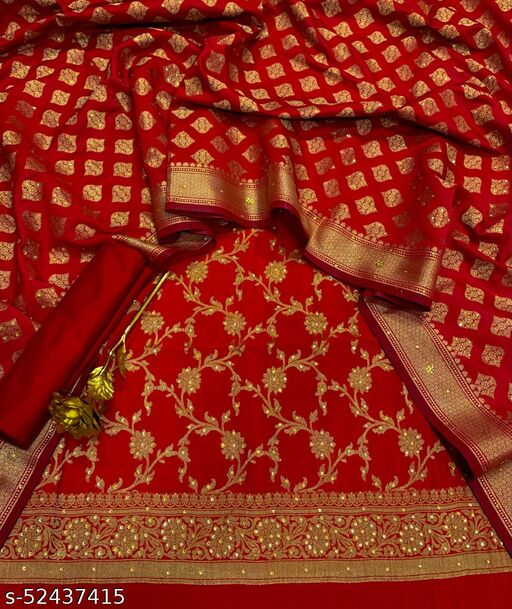 (18Red) Exclusive Banarsi Jaquard Stone Work Silk Suit And Dress Material
