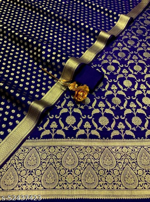 (10Navy Blue) Weddings Special Banarsi Silk Suit And Dress Material