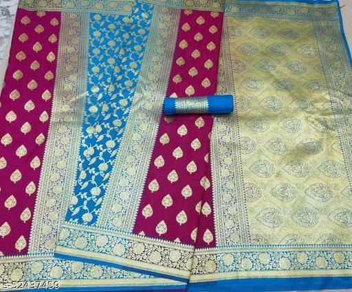 (K16Purple) Fabulous TrenDy Banarsi Partly Silk Saree for Specially Weddings