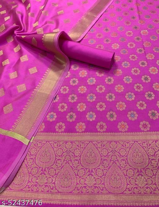 (8Pink) Banarsi Multi Mina Silk Suit And Dress Material