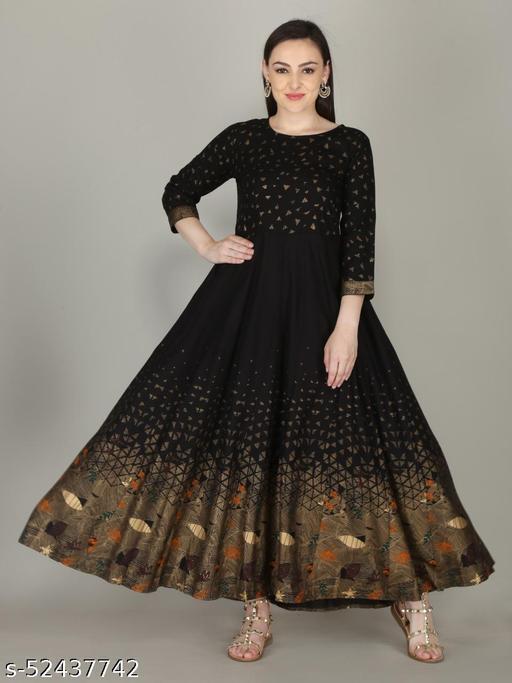 Rayon Black Printed Anarkali Gown Kurta