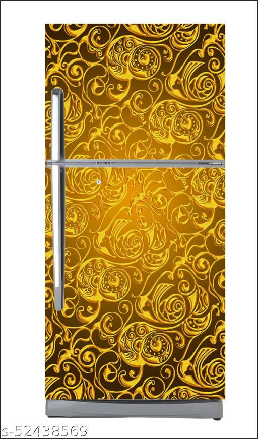 Seamless golden swirls wallpaper poster Adhesive Vinyl sticker fridge wrap decorative sticker (pvc vinyl covering area 60cm X 160cm )FG0313