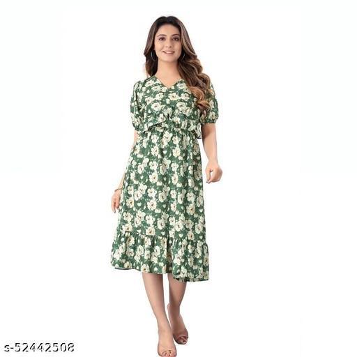 Trendy Heavy Rayon Green One Piece Dress