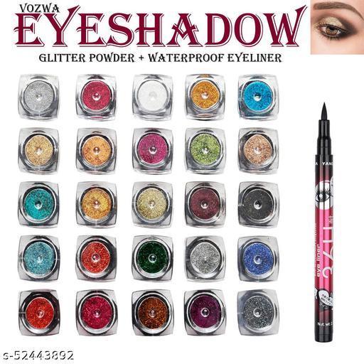 Vozwa 25 color eye shadow Glitter Powder with Waterproof Eyeliner