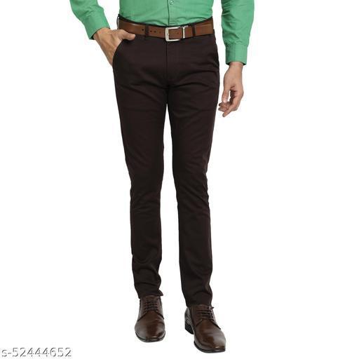 4SEASON'S Men's Regular Fit Stretchable Satin Lycra Trouser - Brown