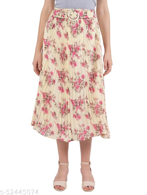 Ashnaina Polyester Flared Fit Floral Printed Skirt With Belt