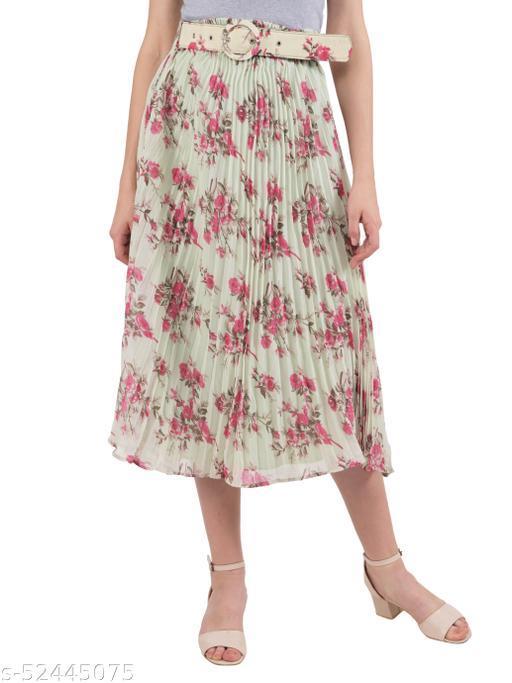 Ashnaina Polyester Flared Printed Skirt With Belt