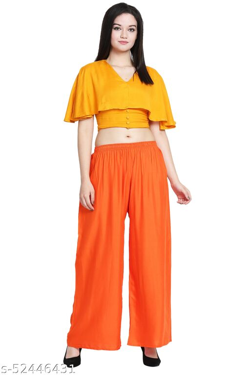 Orange Color Plain Sharara