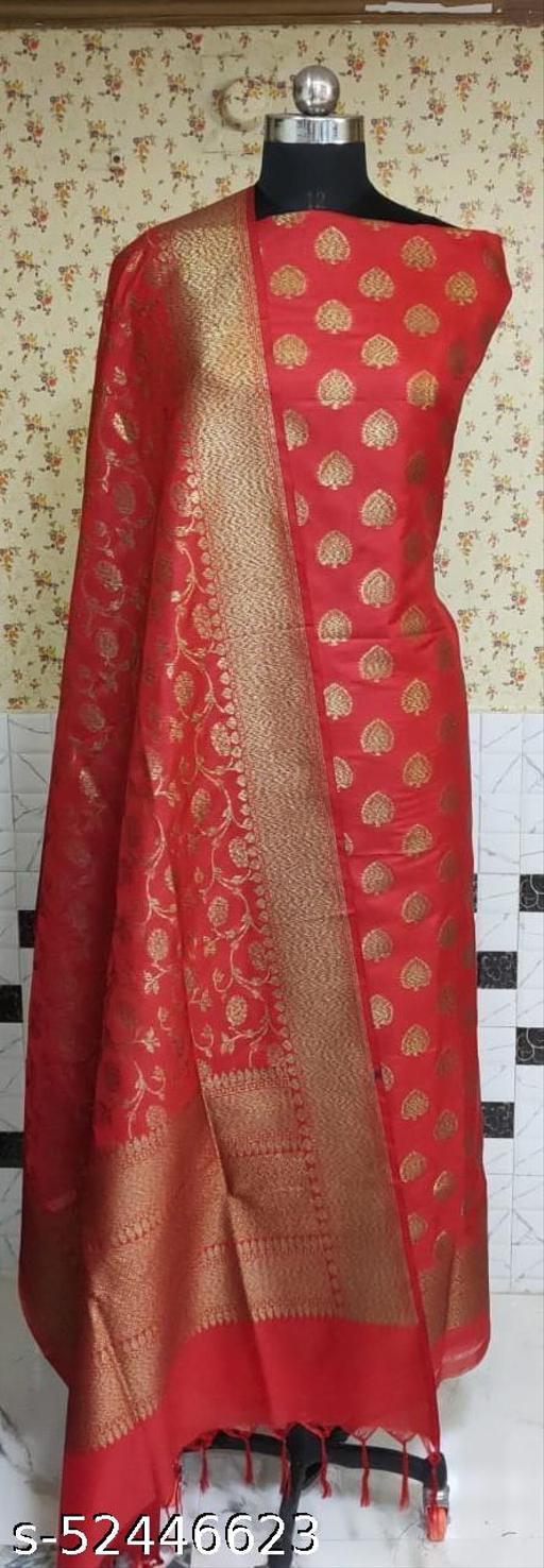 (R1Red) Weddings Special Banarsi Kataan Silk Suit And Dress Material