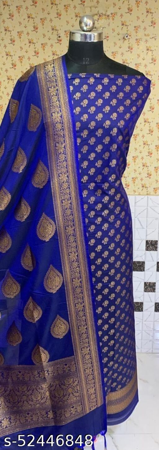 (R3Blue) Fashionable Banarsi Kataan Silk Suit And Dress Material