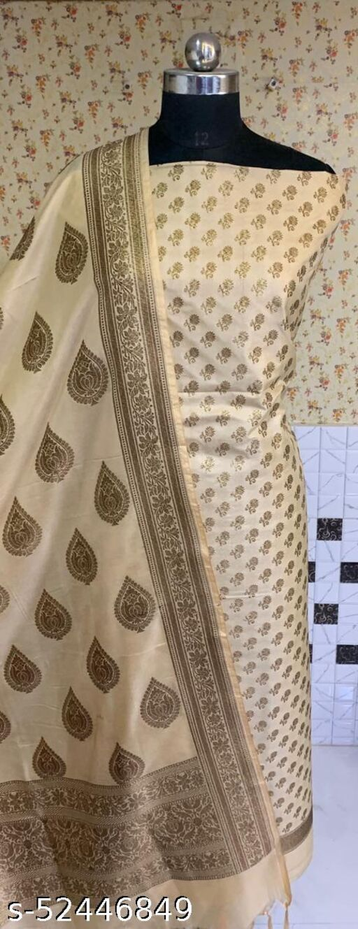 (R3Cream) Fashionable Banarsi Kataan Silk Suit And Dress Material