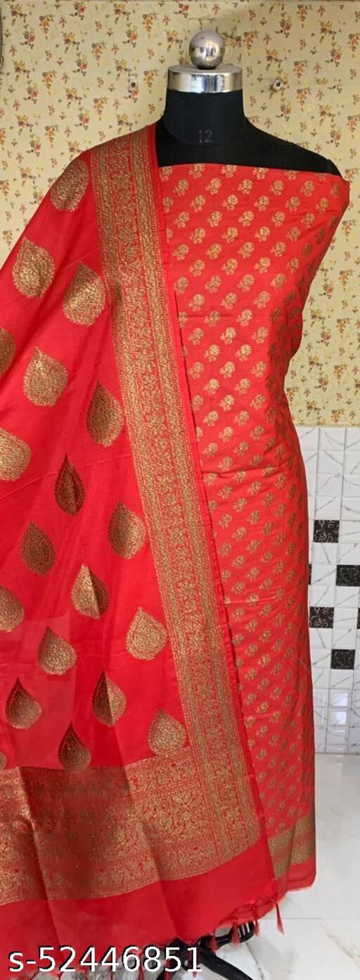 (R3Red) Fashionable Banarsi Kataan Silk Suit And Dress Material