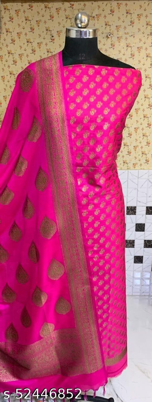 (R3Pink) Fashionable Banarsi Kataan Silk Suit And Dress Material